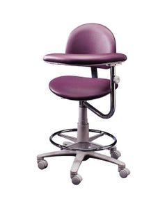 Brewer Design 3345 Classic Ergonomic Dental Assistant Stools, Stitched Upholstery, Left, with Backrest-21735
