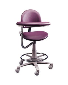 Brewer Design 3345 Classic Ergonomic Dental Assistant Stools, Stitched Upholstery, Left, with Backrest-21737