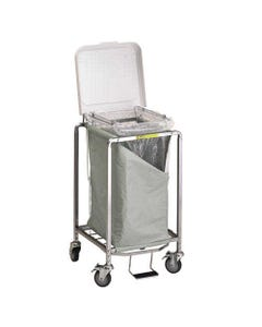 R&B Wire Deluxe Single Hamper with Foot Pedal, Easy Access Bag - White Lid