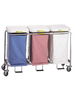 R&B Wire Deluxe Triple Hamper with Foot Pedal, Easy Access - White Lid