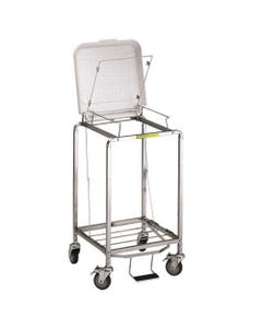 R&B Wire Deluxe Single Hamper with Foot Pedal, Standard - White Lid