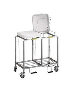 R&B Wire Deluxe Double Hamper with Foot Pedal, Standard - White Lid, 674NB-24978