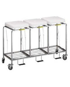 R&B Wire Deluxe Triple Leakproof Hamper with Foot Pedal, White Lid