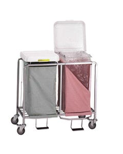R&B Wire Deluxe Double Hamper with Foot Pedal, Easy Access - White Lid