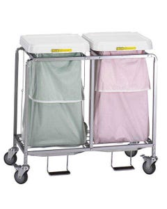 R&B Wire Deluxe Double Leakproof Hamper with Foot Pedal, Easy Access - White Lid