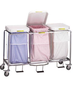 R&B Wire Deluxe Triple Leakproof Hamper with Foot Pedal, White Lid with Leakproof Bag-26185