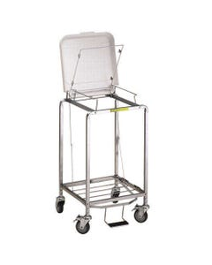 R&B Wire Deluxe Single Hamper with Foot Pedal, Easy Access Bag - White Lid-26188