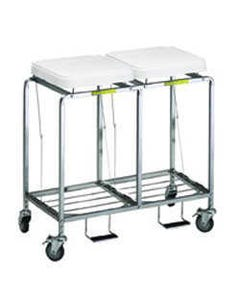 R&B Wire Deluxe Double Leakproof Hamper with Foot Pedal, Easy Access - White Lid-26192