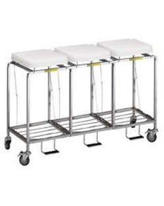 R&B Wire Deluxe Triple Leakproof Hamper with Foot Pedal, White Lid with Leakproof Bag