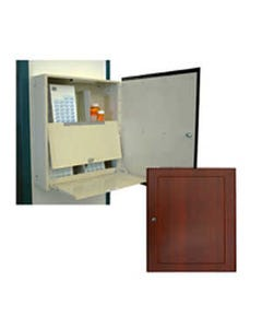 Harloff WL2790NARC-CM Wood Look Medication Cabinet with Narcotics Compartment, Wall Mount, Slam Lock