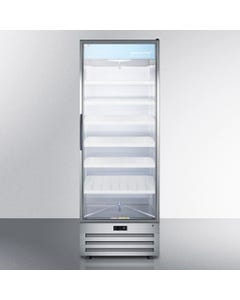 Summit Accucold Stainless Steel Pharmaceutical Refrigerator with Self-Closing Glass Door