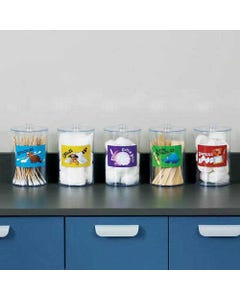 Clinton T-77 Animal Pals Labeled Clear Plastic Sundry Jars, Plastic, Labeled