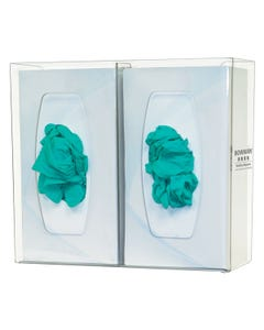 Bowman GL020-0111 Double Glove Box Dispenser with Divider, Clear PETG Plastic