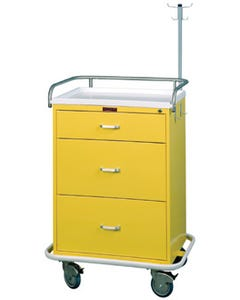 Harloff Mobile Medical Isolation Carts with Key Lock - 3 Drawer, Base Model