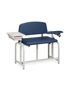 Clinton 66092B Lab X Series Blood Drawing Chair with Padded Flip Arm and Drawer