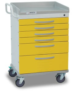 Detecto Whisper Series Isolation Medical Cart with 6 Yellow Drawers WC333369YEL