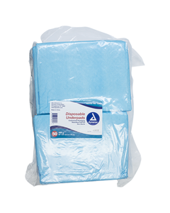 """Dynarex Disposable Chux Blue Underpads, 105 g   30"""" x 30"""", Polymer, Case of 100"""