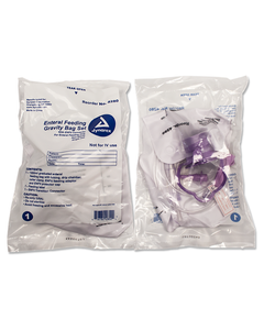 Dynarex 4280 Enteral Delivery Gravity Bag Set with ENfit Connector, Latex Free, Case of 30