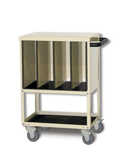 """Wolf X-Ray Corporation 80-024 Mini CR-Plate Cart with Four 6"""" Wide Compartments"""