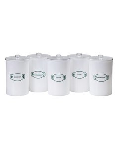 Clinton T-60 Labeled Opaque Plastic Sundry Jars, Plastic, Labeled