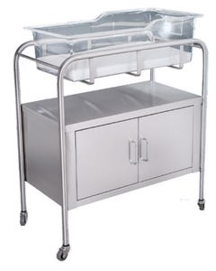 UMF Medical SS8528 Stainless Steel 2-Door Bassinet with Basket and Mattress