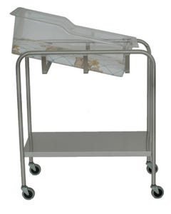UMF Medical SS8538 Stainless Steel Single Shelf Bassinet with Basket and Mattress